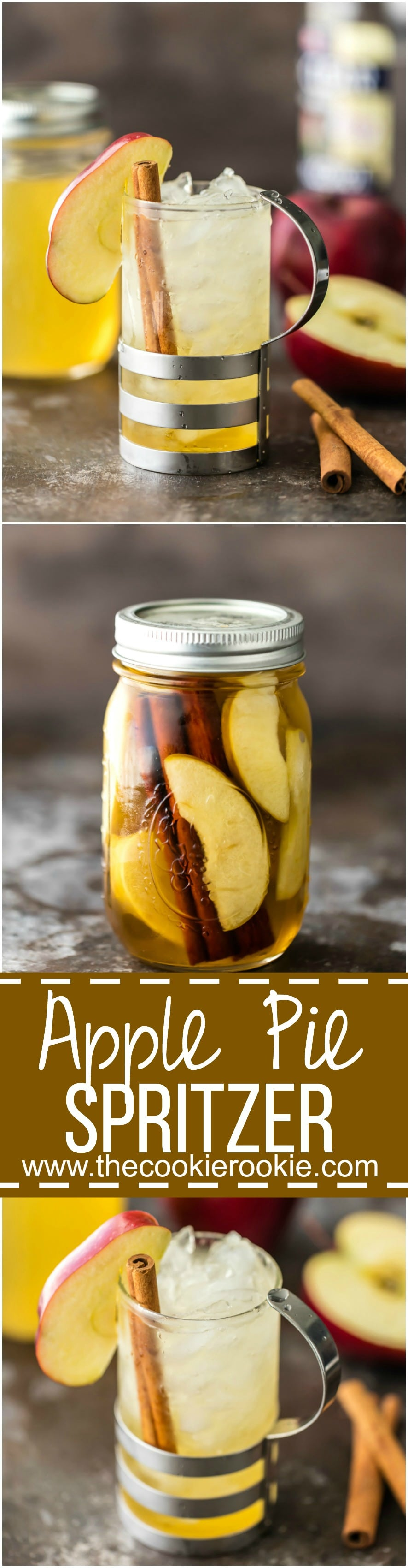 ¡El vodka casero de tarta de manzana es una idea de regalo fácil para el otoño! ¡Simple Apple Pie Vodka es el mejor cóctel de otoño con Apple Pie Spritzer! Apple Pie Vodka, Apple Cider y Club Soda! Tan delicioso!