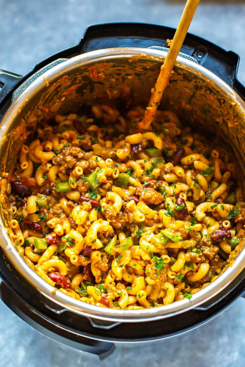 Instant Pot Chili Mac y queso