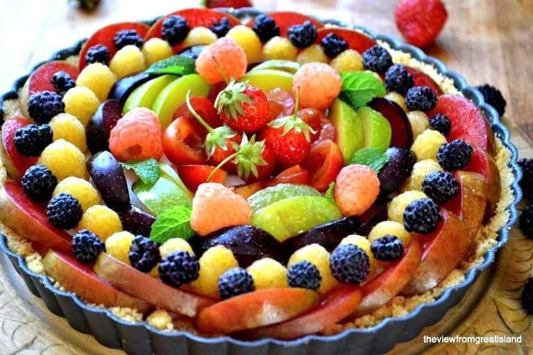 tarta de fruta de panna cotta