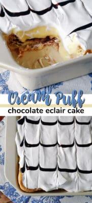 imagen de pin de pastel de crema de chocolate con hojaldre de crema
