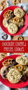 Galletas de pretzel cubiertas de chocolate: simples galletas de azúcar morena rellenas de pretzels cubiertos de chocolate dulce y salado.