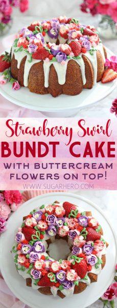 Pastel Bundt de fresa y remolino | De SugarHero.com