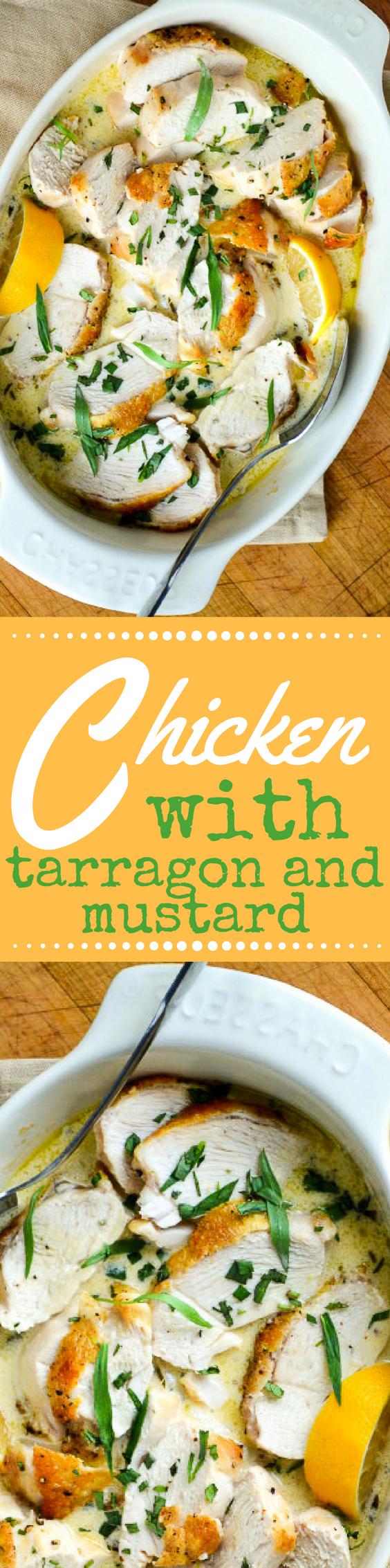 Las pechugas de pollo asadas con salsa de estragón y mostaza son comidas rápidas y fáciles que recuerdan los sabores del Mediterráneo. ~ theviewfromgreatisland.com