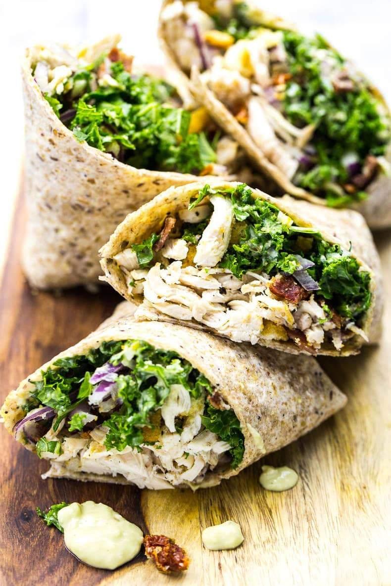 Chicken and Kale Caesar Wraps
