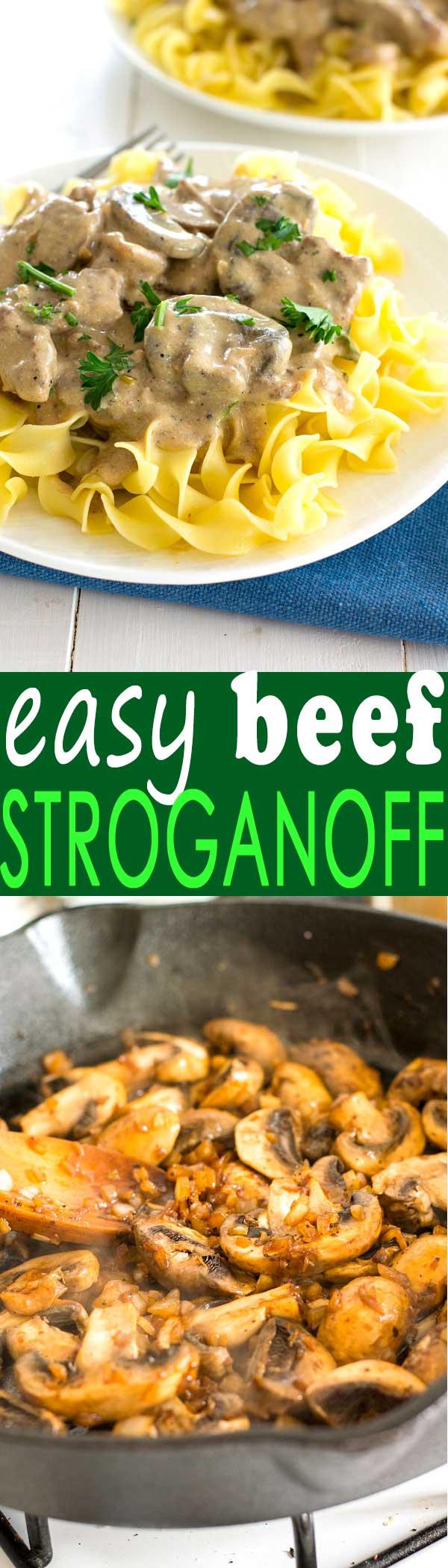 Receta fácil de stroganoff de carne casera desde cero con filete y la salsa de crema agria más deliciosa.
