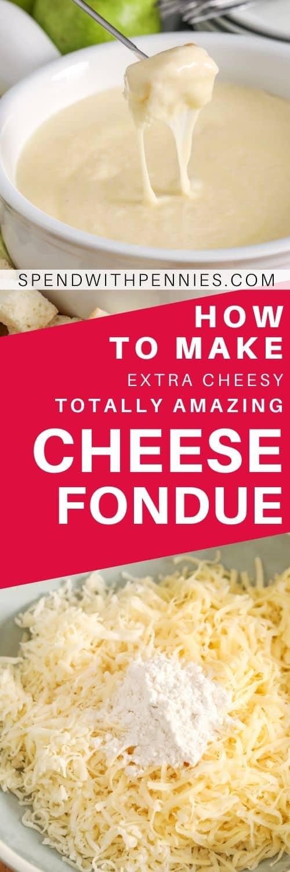 Foto superior: Sumergir el pan en la fondue de queso. Foto inferior: maicena espolvoreada sobre queso rallado.