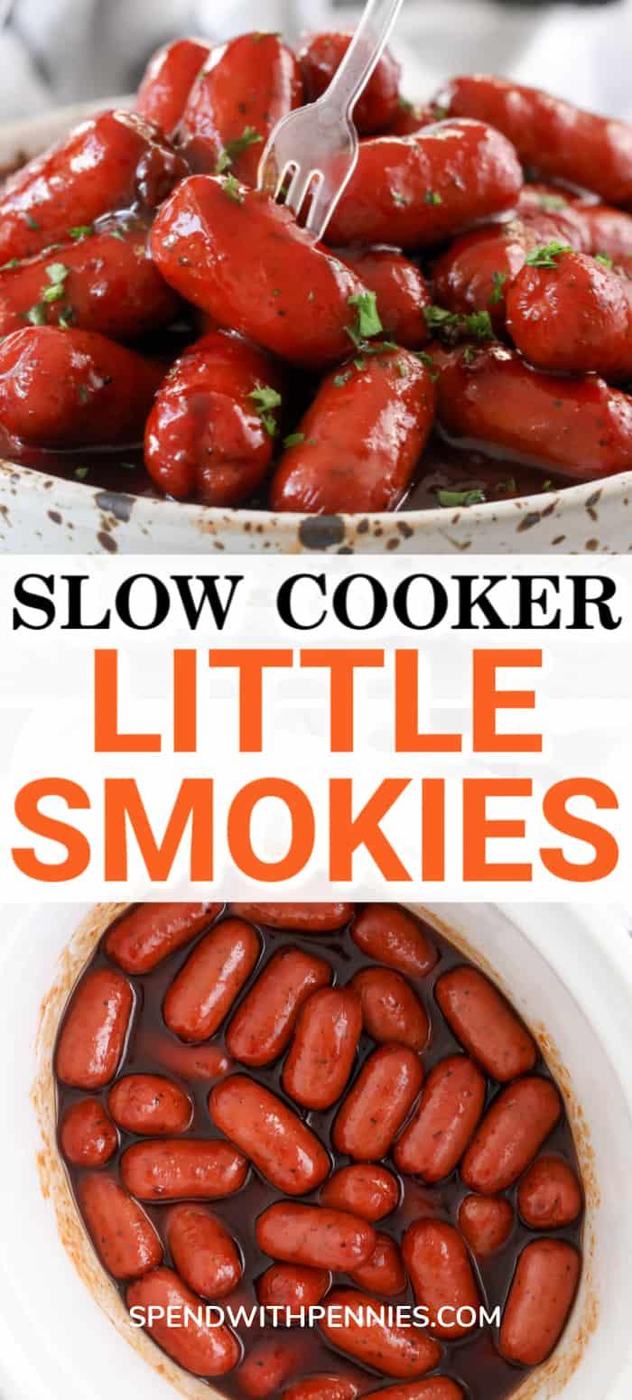 Foto superior: un tazón lleno de pequeños ahumados y salsa. Foto inferior: pequeños ingredientes ahumados en una olla después de cocinarlos