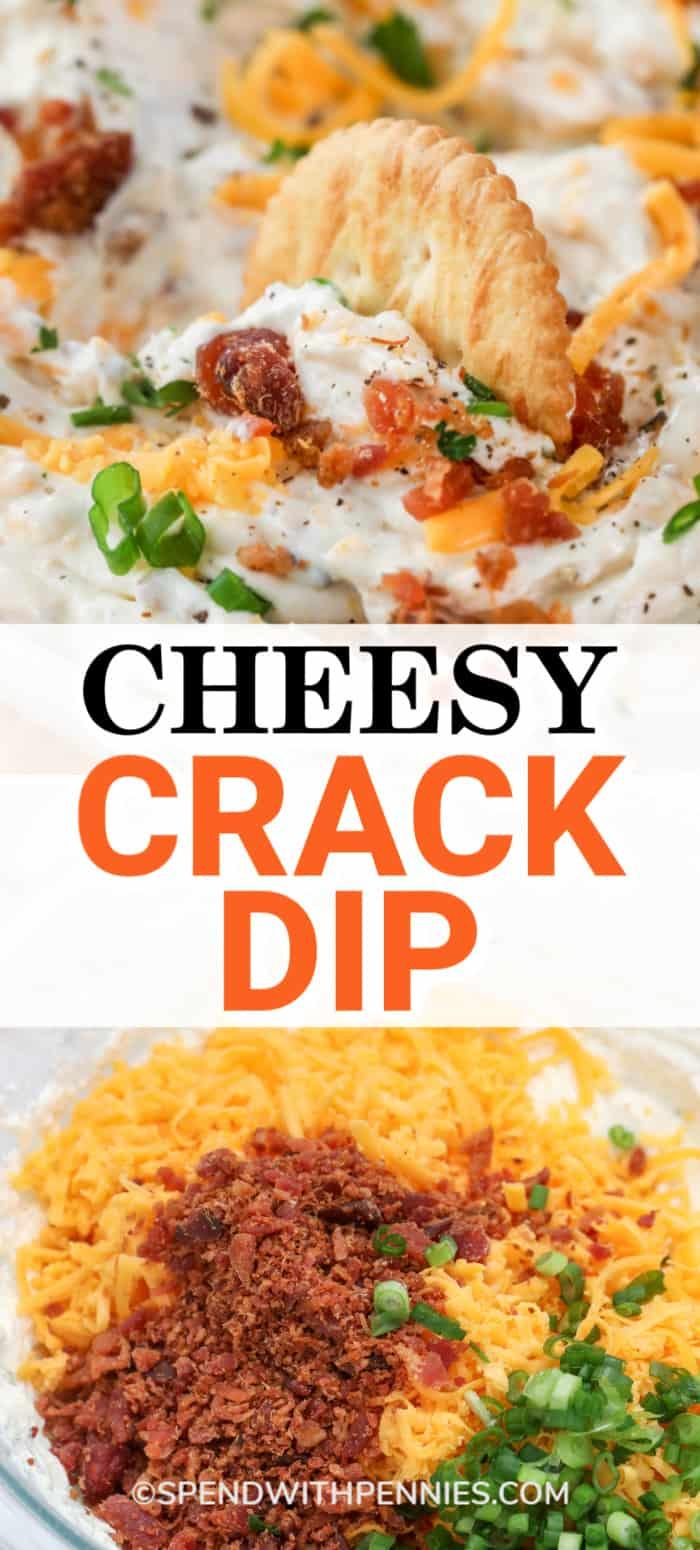 La foto superior muestra una galleta sumergida en un tazón de salsa de crack. La foto inferior muestra los ingredientes de la salsa de crack en un recipiente de vidrio antes de mezclarlos.