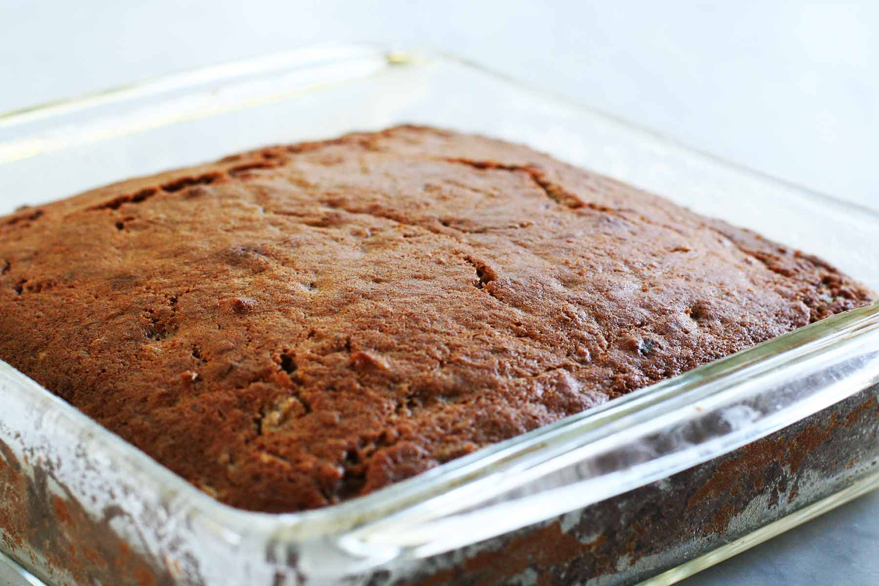 Applesauce Spice Cake out of the oven