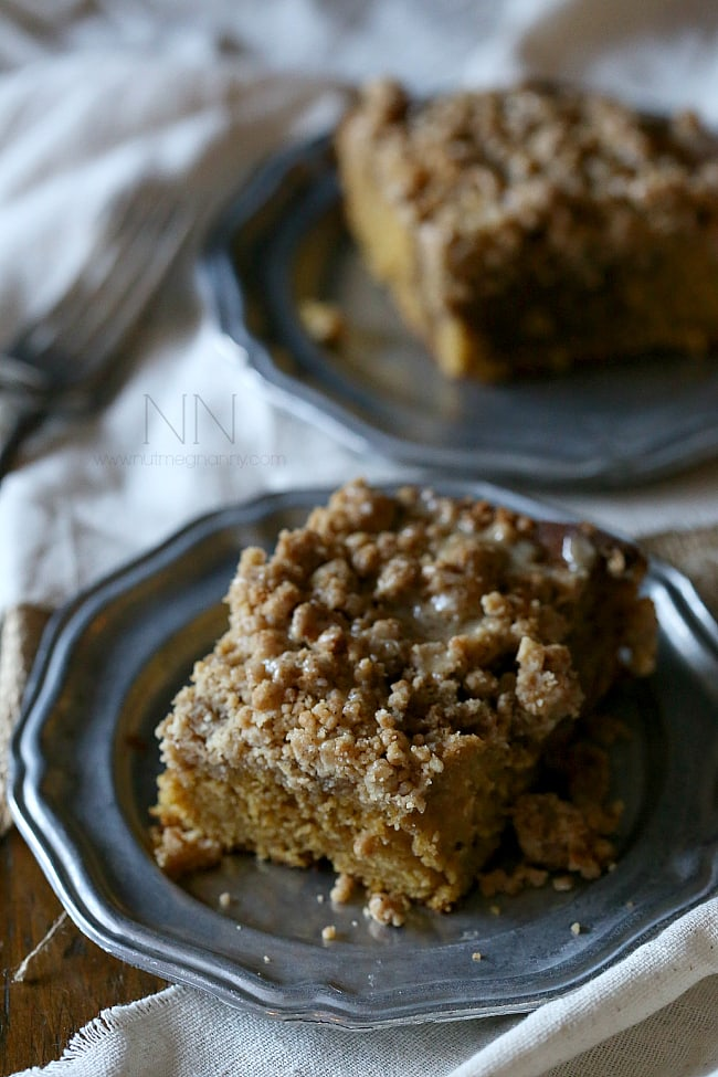 This sweet pumpkin spice latte coffee cake is the perfect way to start your day. Full of pumpkin pie spice and just a little espresso powder. It