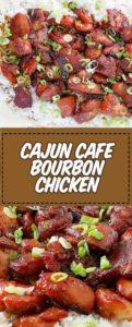 dos lugares de pollo bourbon con rodajas de cebolla verde encima