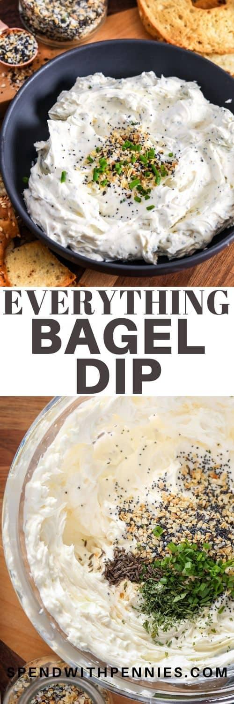 Foto superior: un tazón negro lleno de todo bagel dip. Foto inferior: todo lo que se bagel sumerge los ingredientes en un tazón.