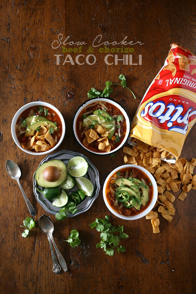 This slow cooker beef chorizo taco chili is packed full of flavor and perfect for cold winter nights. Serve topped with avocado, cheese and corn chips for the perfect filling bowl.
