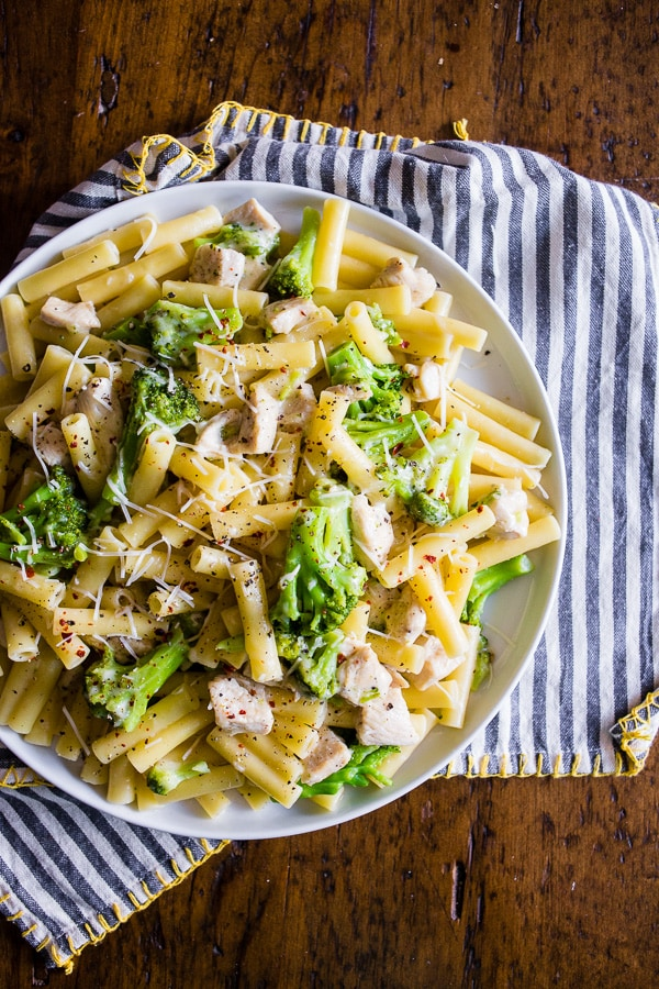 This chicken broccoli ziti is a delicious weeknight dinner. Ready in 30 minutes and packed full of delicious white wine and Parmesan sauce flavor. You