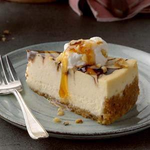 Receta de pastel de queso con remolino de azúcar moreno y chocolate