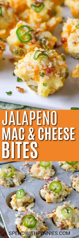 Imagen superior: picaduras de macarrones con queso y jalapeño. Imagen inferior: picaduras de macarrones con queso y jalapeños cubiertos con jalapeños.