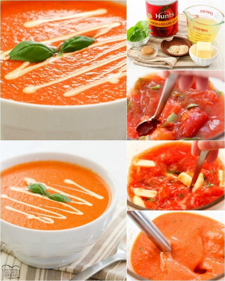 cómo hacer una receta de sopa de tomate y albahaca