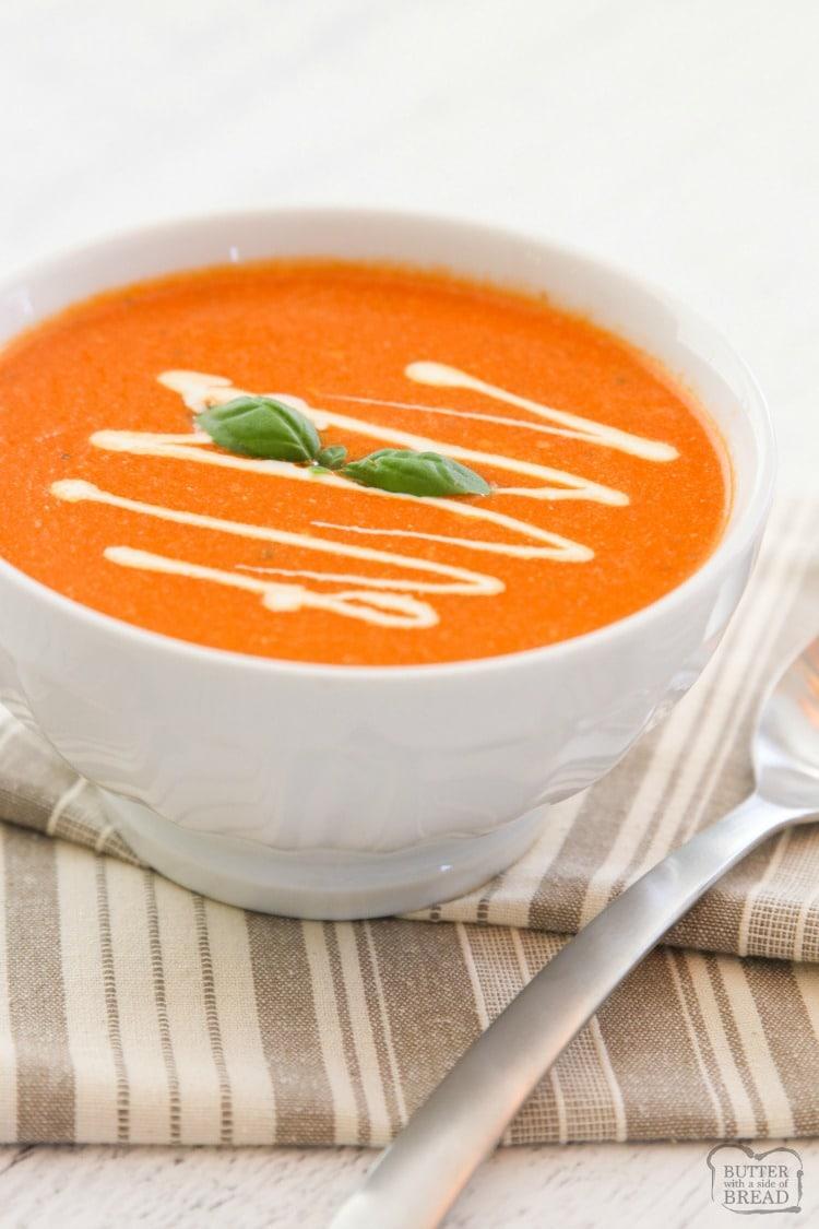 receta fácil de sopa de albahaca y tomate