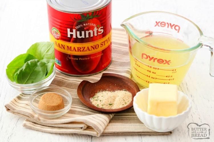 """Receta fácil de sopa de tomate y albahaca de 10 minutos hecha con tomates al estilo de San Marzano, caldo, albahaca fresca y mantequilla. Sopa de tomate suave y picante que se junta rápidamente. """"Ancho ="""" 750 """"altura ="""" 500 """"data-jpibfi-post-excerpt ="""" """"data-jpibfi-post-url ="""" https://butterwithasideofbread.com/easy- tomate-albahaca-sopa / """"data-jpibfi-post-title ="""" SOPA DE BASILLO DE TOMATE FÁCIL """"data-jpibfi-src ="""" https://i1.wp.com/butterwithasideofbread.com/wp-content/uploads/2019/ 11 / Receta de sopa de tomate y albahaca fácil.BSB_.IMG_5429-2.jpg? Resize = 750% 2C500 & ssl = 1 """"data-pin-description ="""" Receta de sopa de tomate y albahaca fácil de 10 minutos hecha con tomates estilo San Marzano, caldo, albahaca fresca y mantequilla. Sopa de tomate suave y picante que se une rápidamente. Perfecto para una comida o comida rápida durante la semana. """"Data-recalc-dims ="""" 1 """"src ="""" https://i1.wp.com/butterwithasideofbread.com/wp-content/uploads/2019/11/Easy-Tomato- Receta de sopa de albahaca.BSB_.IMG_5429-2.jpg? Resize = 750% 2C500 & ssl = 1 """"/></h2> <h2>Ingredientes para la sopa de tomate y albahaca</h2> <p>Esto es lo que necesitará para hacer esta receta:</p> <h3>Tomates San Marzano</h3> <p>Recomiendo usar los tomates estilo Hunt San Marzano, ¡son nuevos! Los tomates estilo San Marzano son un tomate más dulce que tiene baja acidez, con un jugo espeso que los hace perfectos para cocinar. Los Tomates al Estilo San Marzano de Hunt son totalmente naturales y están pelados al vapor y tienen un sabor fresco, fuerte y ácido.</p> <p>Los tomates al estilo San Marzano de Hunt se venden en una lata grande de 28 onzas y vienen en tres sabores: pimiento rojo, italiano y picante.</p> <h3><img loading="""