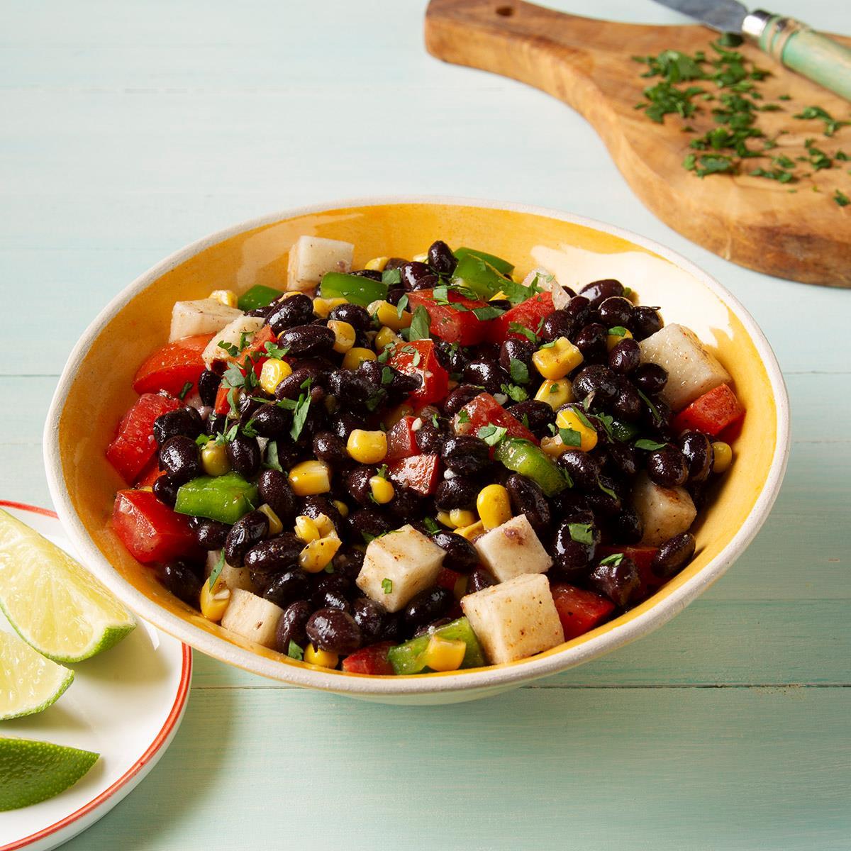 Receta de ensalada de jícama y frijoles negros