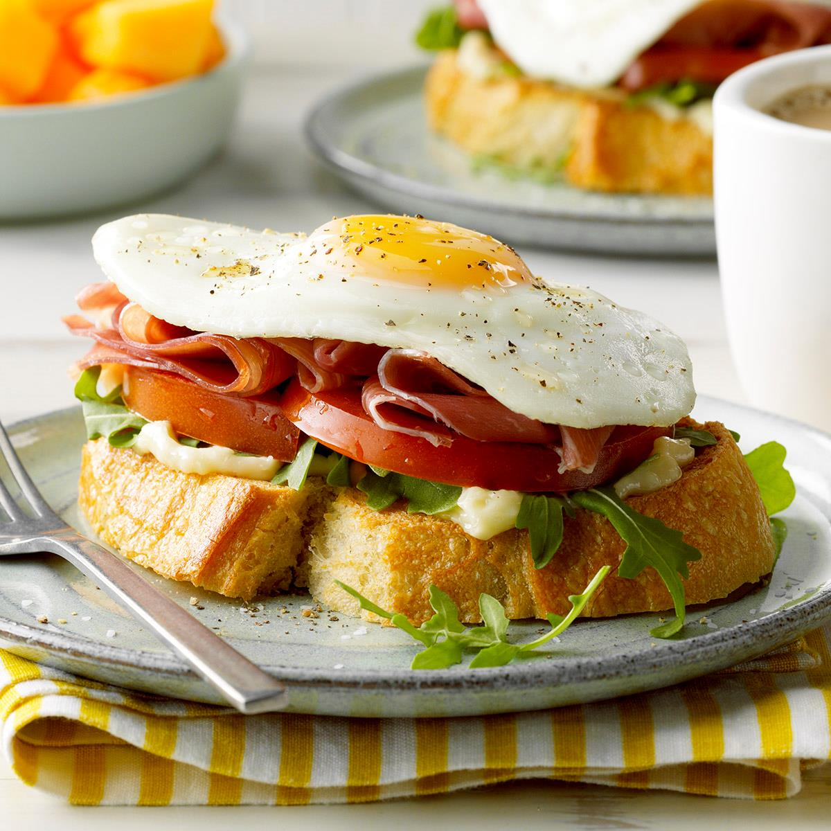 Receta de jamón abierto y sándwich de huevo