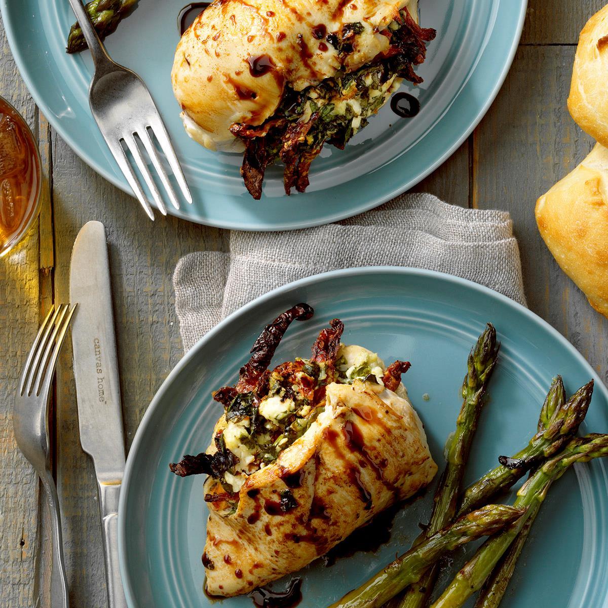 Receta de pollo relleno de queso de cabra y espinacas