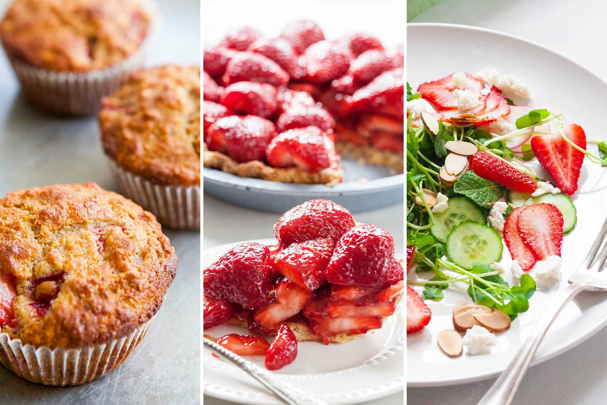 Three strawberry recipe photos next to each other. The left is three golden strawberry muffins. The middle is a slice of fresh strawberry pie on a plate with the rest of the pie behind it. On the right is a strawberry salad with sliced cucumbers, almonds, cheese and greens.