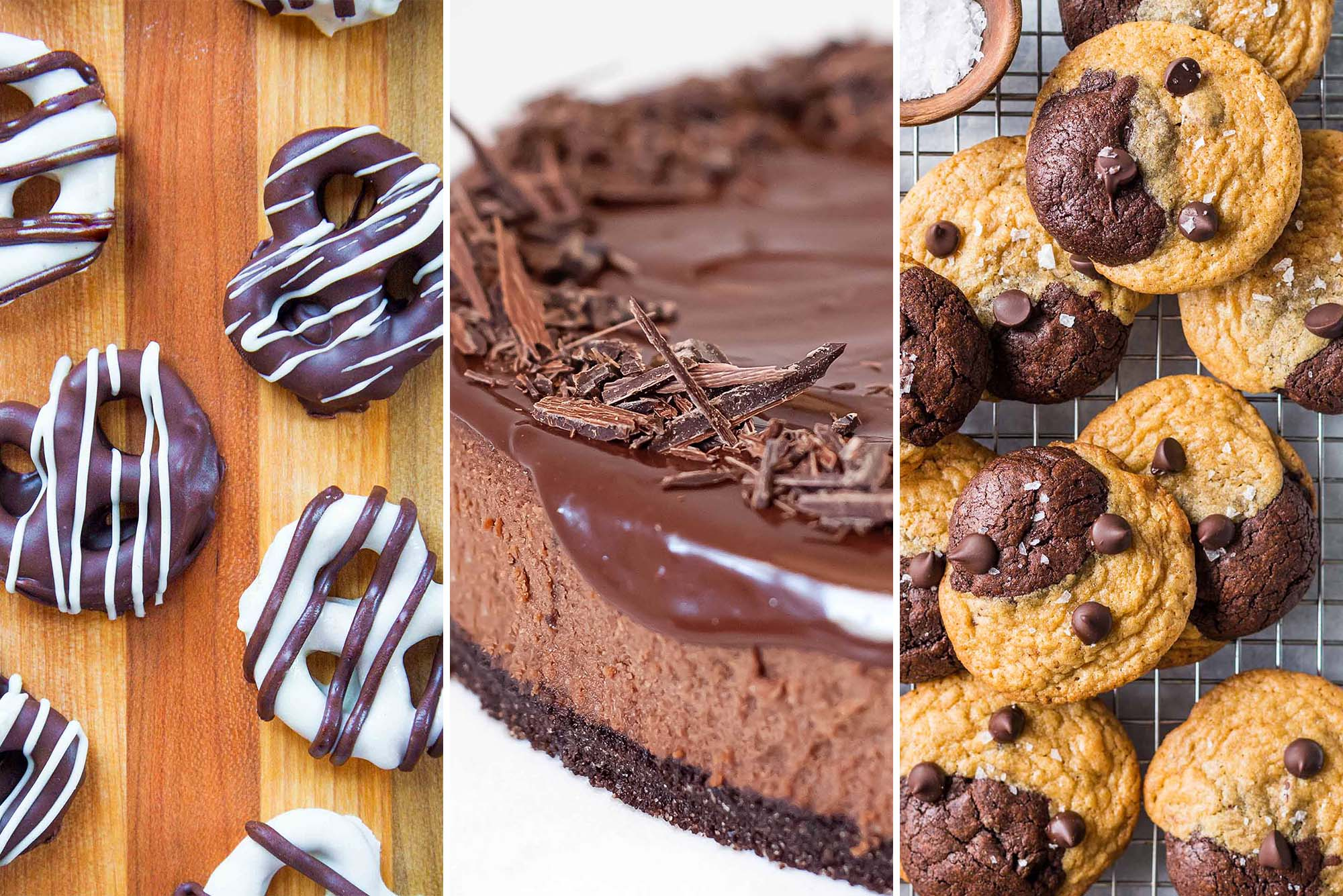 Three pictures set side by side. Chocolate pretzels drizzled with white chocolate on the left. In the center is a Triple Chocolate Cheesecake and on the right are Brookies set on a cooling rack