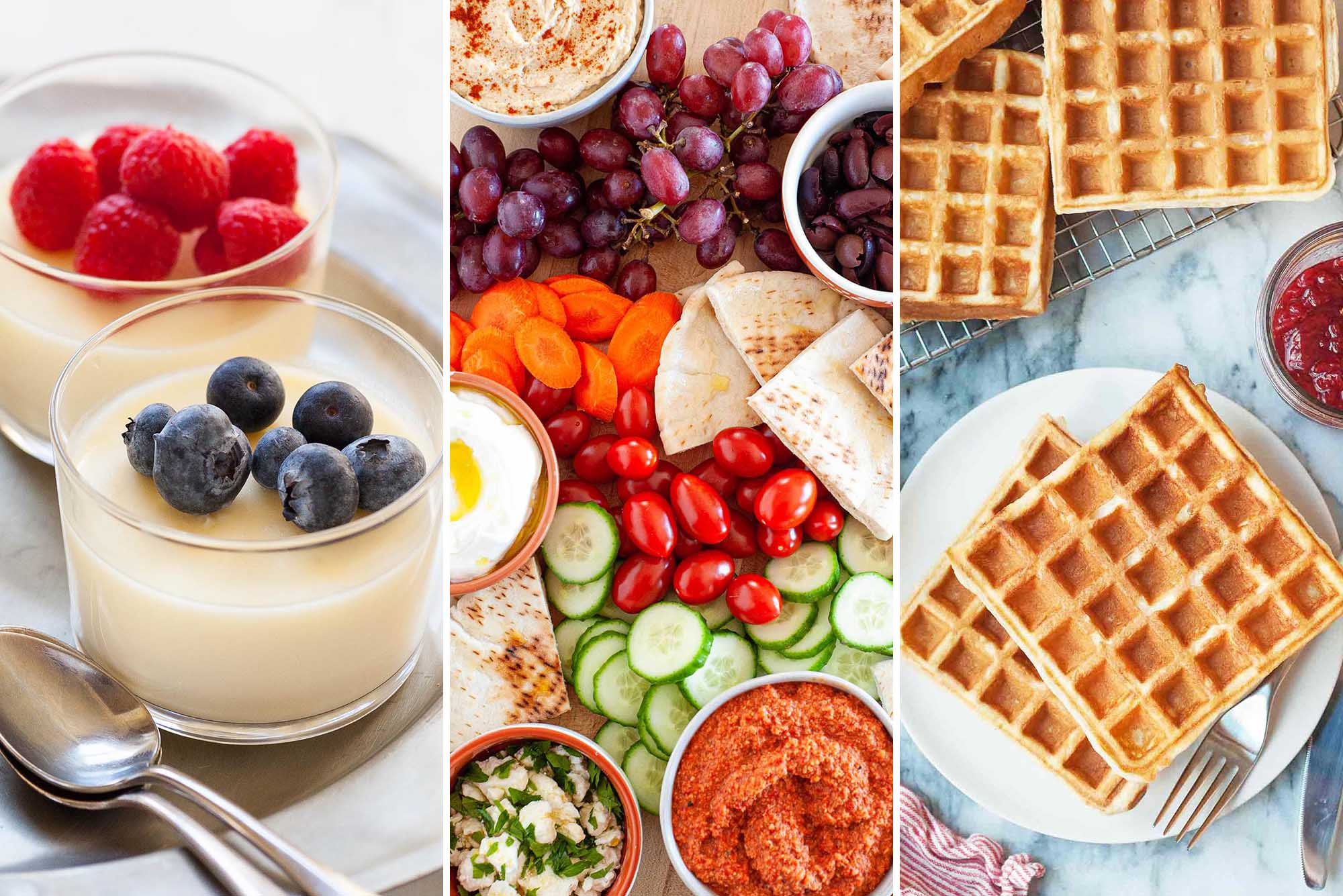 Three images side by side. From left to right: Lemon Pudding with berries on top, Mezze Platter with vegetables, dips and pitas. Last are waffles on a plate.