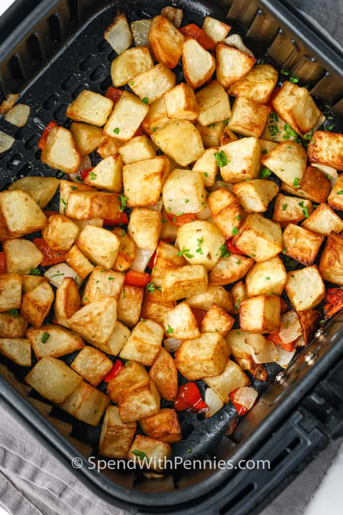 Air Fryer Home Fries in the air fryer after cooking