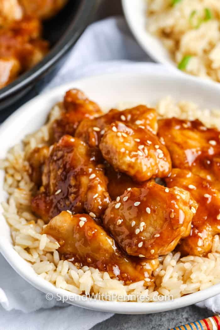 Honey Chicken in a bowl on rice