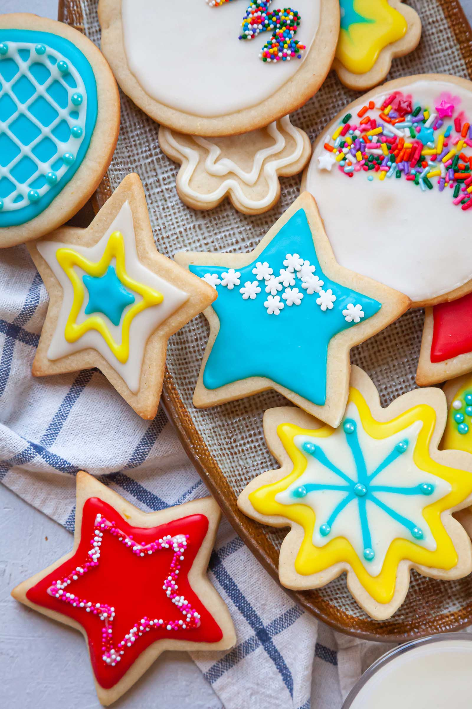 A platter of brightly decorated sugar cookies using an Easy Royal Icing Recipe.