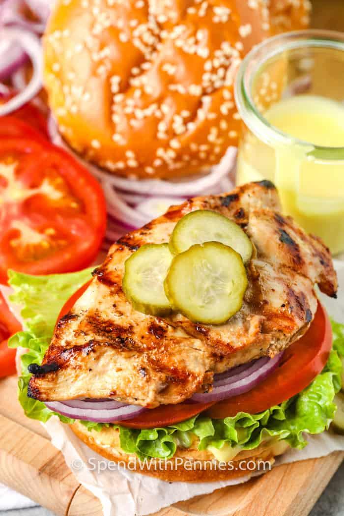 close up of Grilled Chicken Sandwich