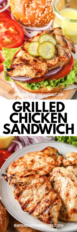 Sándwich de pollo a la plancha con escritura y foto de todos los ingredientes