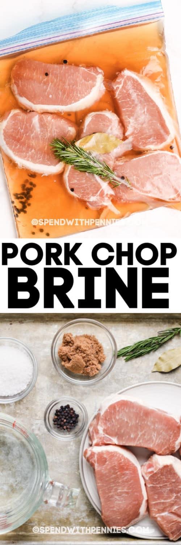 Imagen superior - Chuletas de cerdo en una bolsa con cierre.  Imagen inferior: ingredientes de salmuera de chips de cerdo
