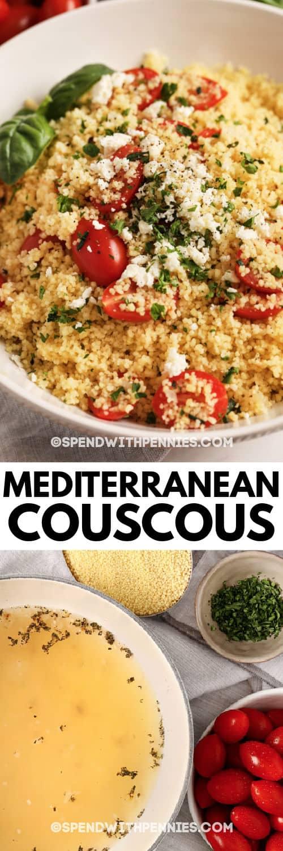 ingredientes para hacer CousCous mediterráneo y plato terminado en un bol con un título