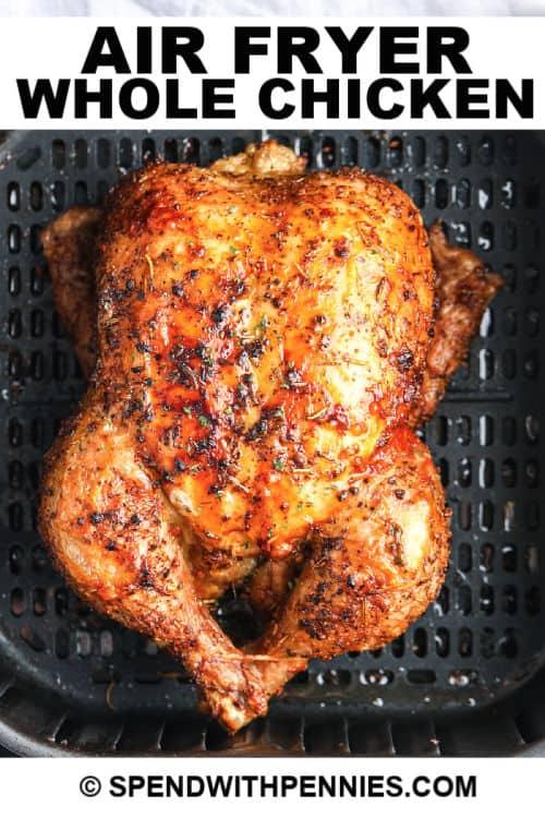 Air Fryer Whole Chicken con escritura
