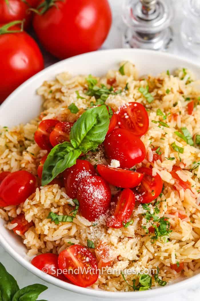 Tomato Basil Rice in a bowl