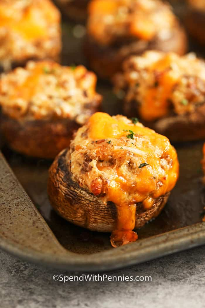 Stuffed Mushrooms on a baking sheet