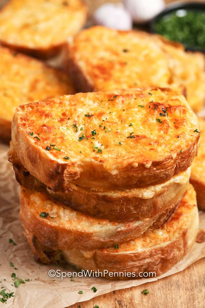 Stack of Garlic Cheese Toast on parchment paper