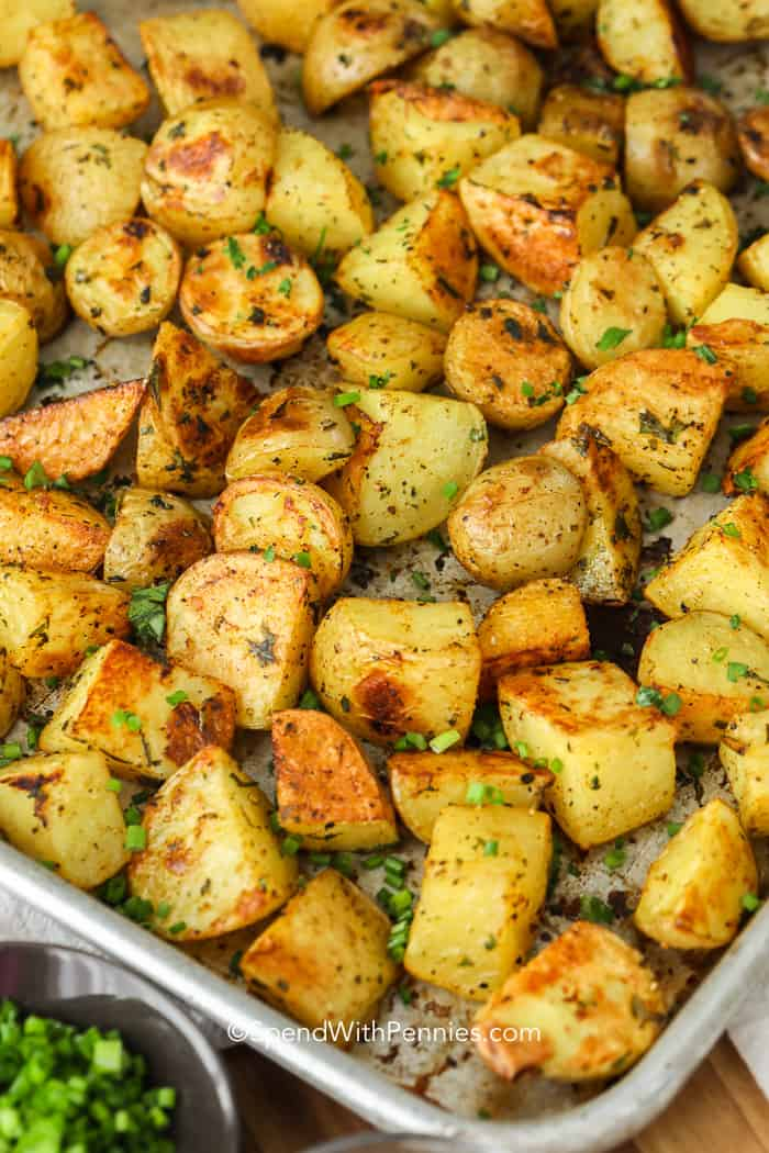Roasted Potatoes on a baking sheet