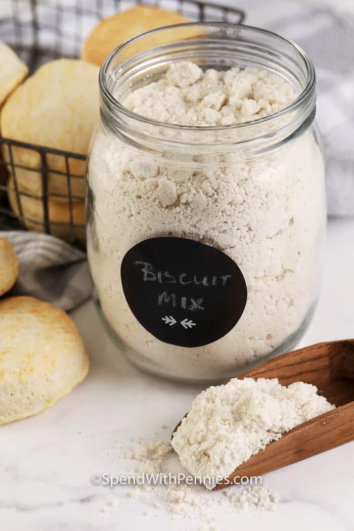 prepared biscuit mix in a jar