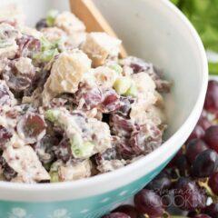 De cerca un plato de ensalada de pollo con uvas