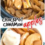 Manzanas canela en crockpot y en un tazón