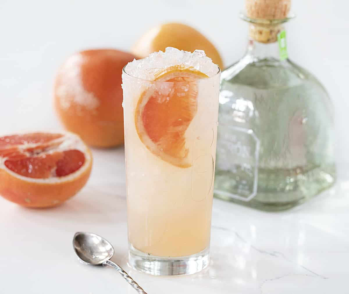 Tall Glass of Pink Paloma with Grapefruit and Patron