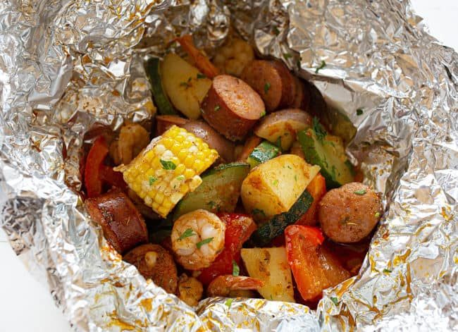 Cajun Shrimp and Sausage Foil Pack