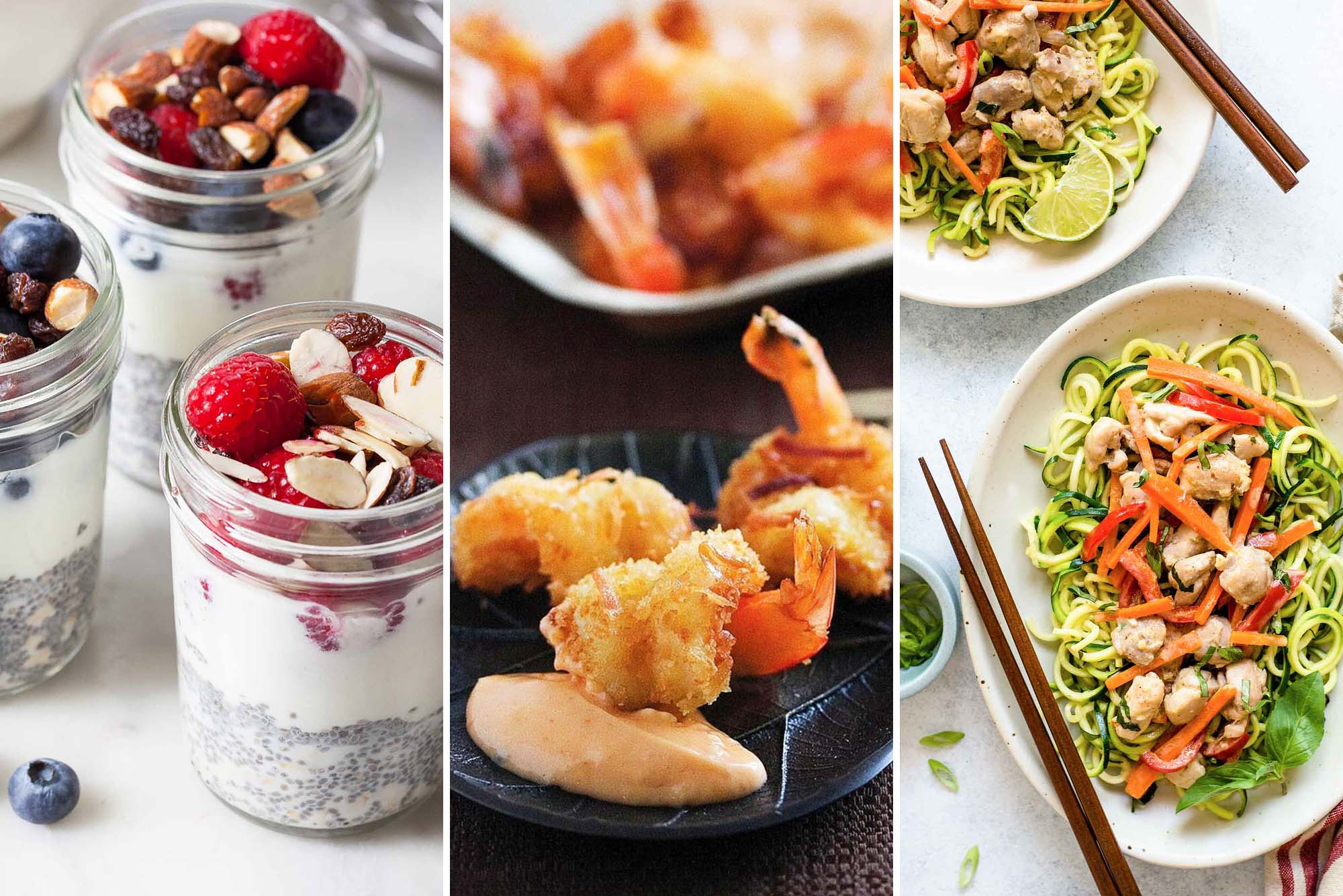 Three images side by side. On the right are three mason jars of Grab-and-Go Oatmeal Chia Cups topped with berries and sliced almonds. The center photo are Coconut Shrimp with Sweet Chili Mayo. The image on the left are two plates of Quick Green Curry Chicken with Zucchini Noodles.