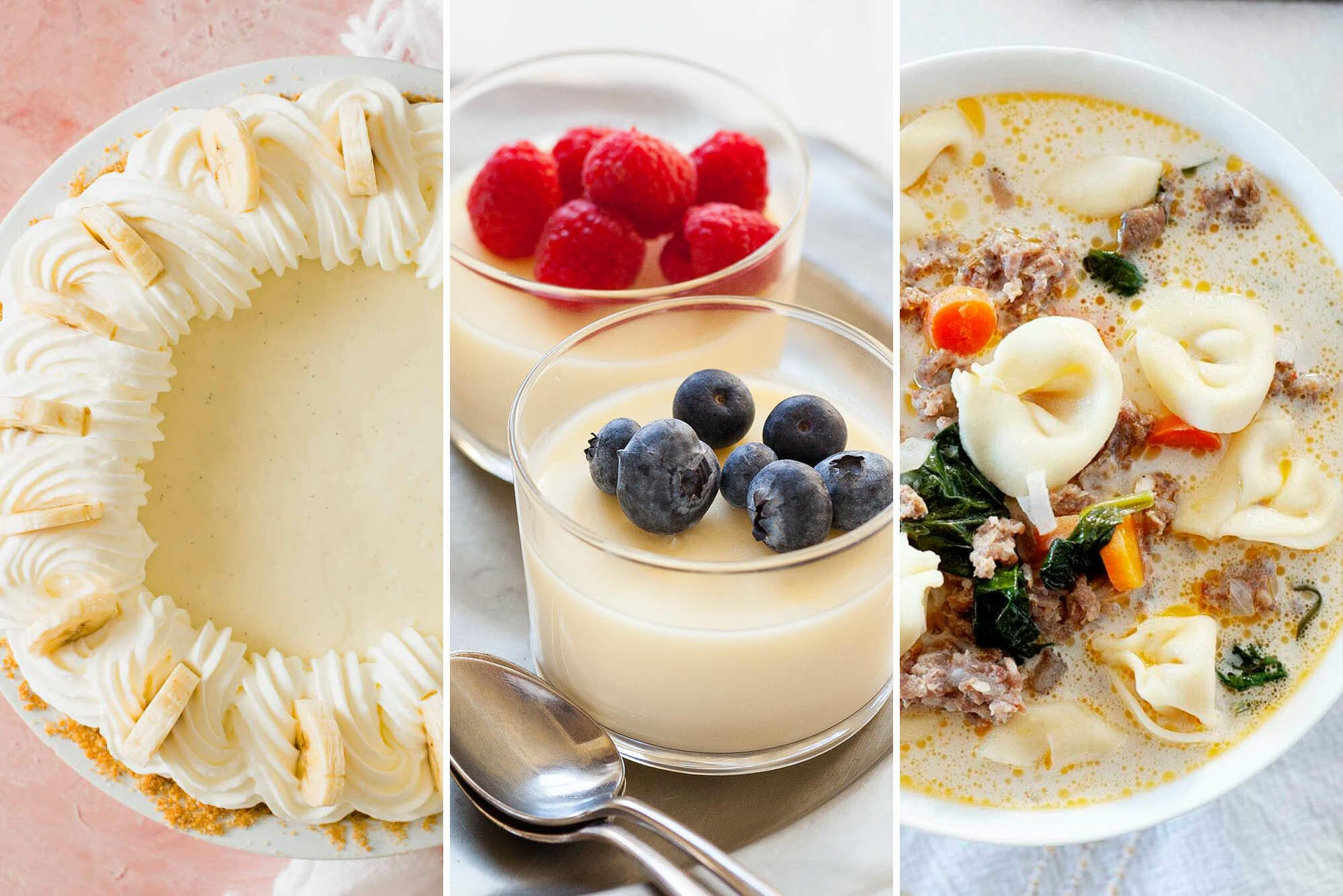 Ways to use heavy cream in recipes. The image to the left is an overhead shot of banana cream pie. The middle photo is two glasses of lemon pudding topped with berries. The image to the right is creamy tortilla soup.